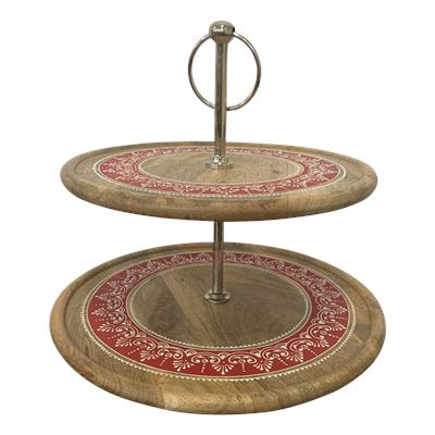 Handpainted 2 Tier Cake Stand Red
