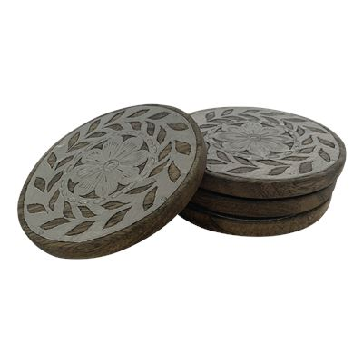 Coasters Set of 4 - Silver Inlay