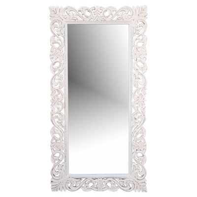 Hand Carved Mirror Antique White 60x90cm