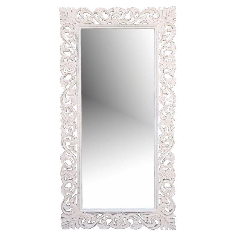 Hand Carved Mirror Antique White 60x90cm