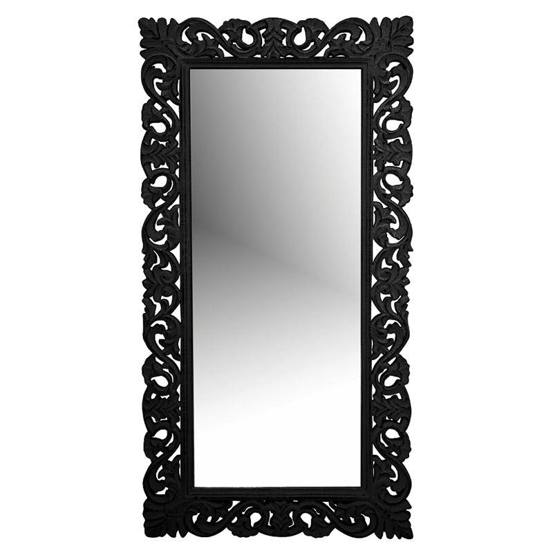 Hand Carved Mirror Black Antique 90x122cm