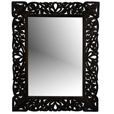Hand Carved Mirror Black Antique 60x90cm