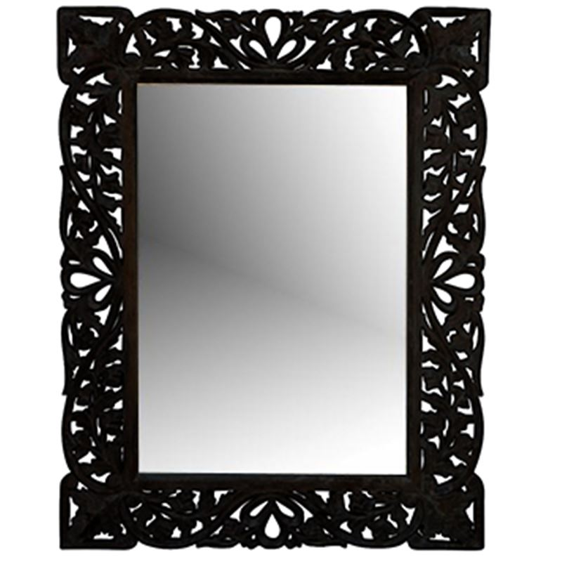Hand Carved Mirror Black Antique 60x90cm