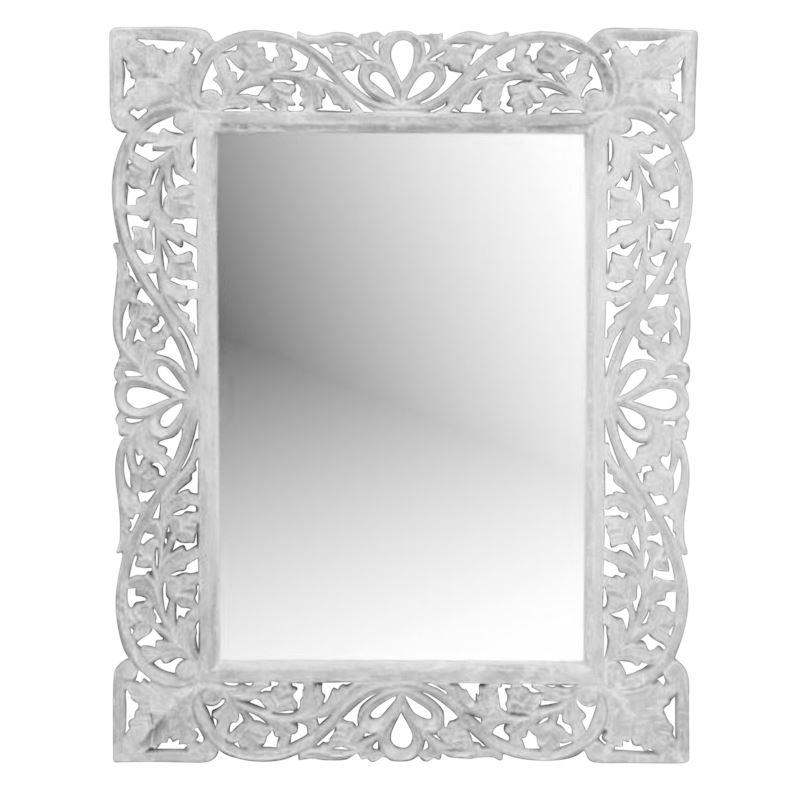 Round Hand Carved Mirror Natural 90x90cm