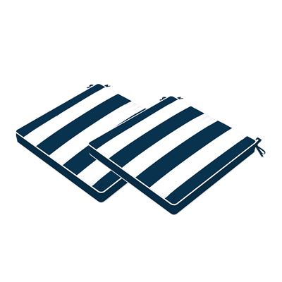 Set of 2 Stripe Outdoor Seat Cushions Navy 40x40cm