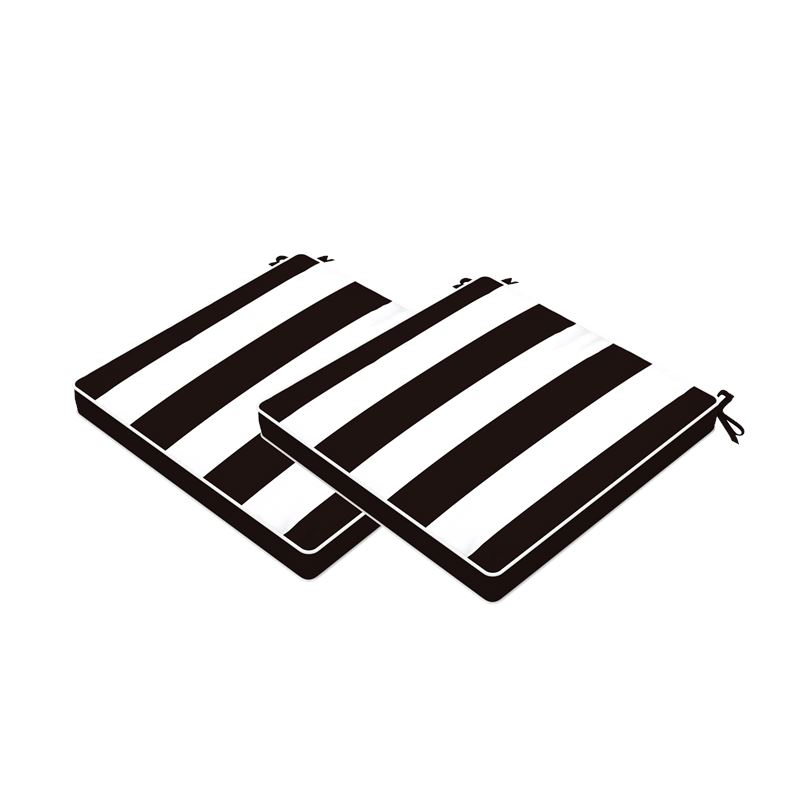 Set of 2 Stripe Outdoor Seat Cushions Black 40x40cm