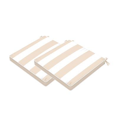 Set of 2 Stripe Outdoor Seat Cushions Beige 40x40cm