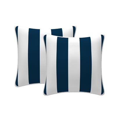 Set of 2 Stripe Scatter Outdoor Cushions Navy 43x43cm