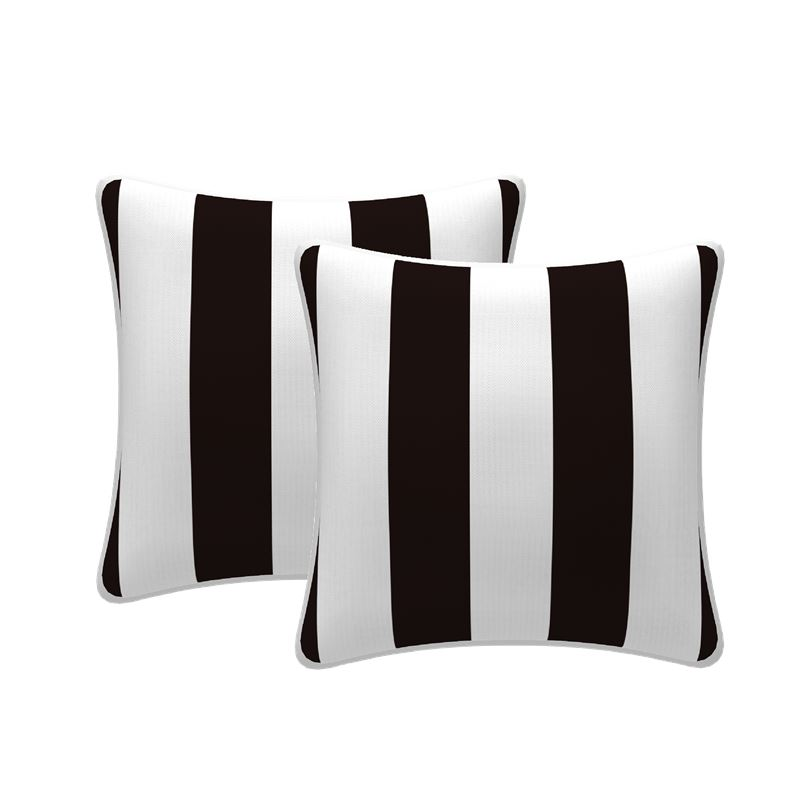 Set of 2 Stripe Scatter Outdoor Cushions Black 43x43cm
