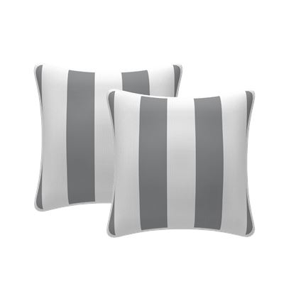 Set of 2 Stripe Scatter Outdoor Cushions Grey 43x43cm