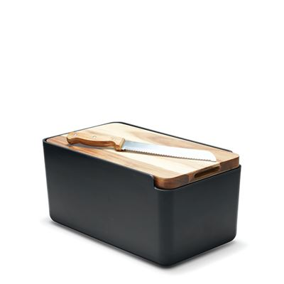 Hudson Bread Bin Black with Wooden Cutting Board Lid