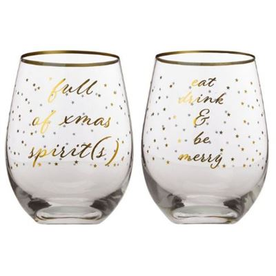 Celebrations Stemless Glass 500ml Set of 2 Spirits Gift Boxed