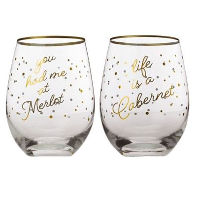 Celebrations Stemless Glass 500ml Set of 2 Cabernet Gift Boxed
