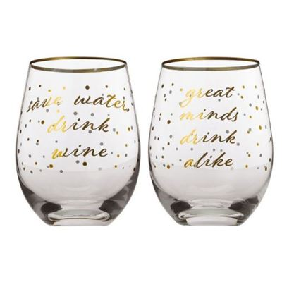 Celebrations Stemless Glass 500ml Set of 2 Water Gift Boxed