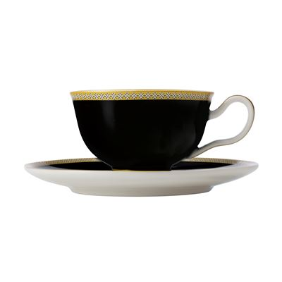 Teas & C's Contessa Classic Footed Cup & Saucer 200ML Black Gift Boxed