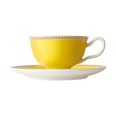 Teas & C's Contessa Classic Footed Cup & Saucer 200ML Yellow Gift Boxed