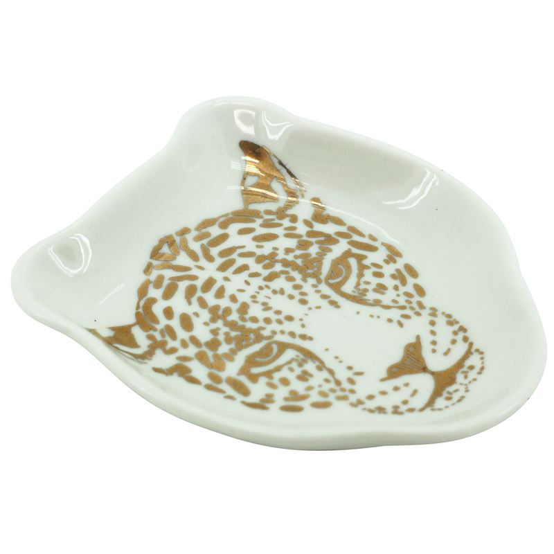 Cheetah Face Dish White/Gold 9x11cm