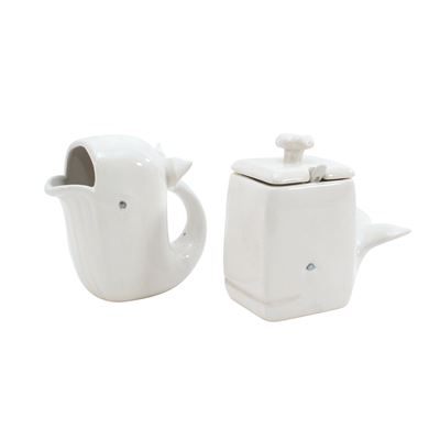 Fountain White Ceramic Whale Sugar and Creamer Set