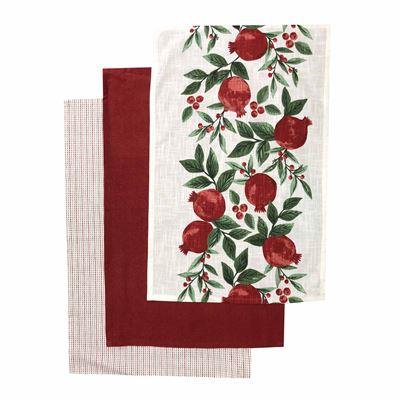 Pomegranate Red Tea Towel Set of 3