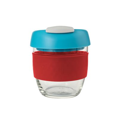 Glass Go Cup 236ml Red