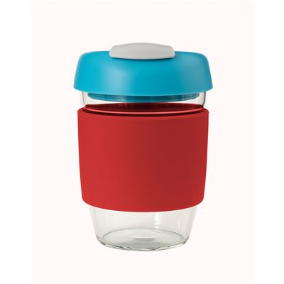 Glass Go Cup 355ml Red