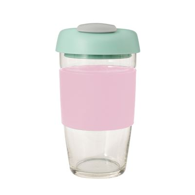 Glass Go Cup 473ml Pink
