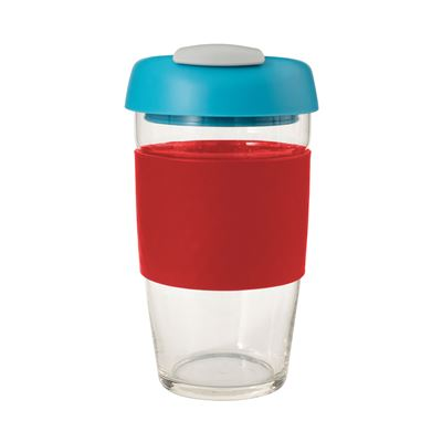 Glass Go Cup 473ml Red