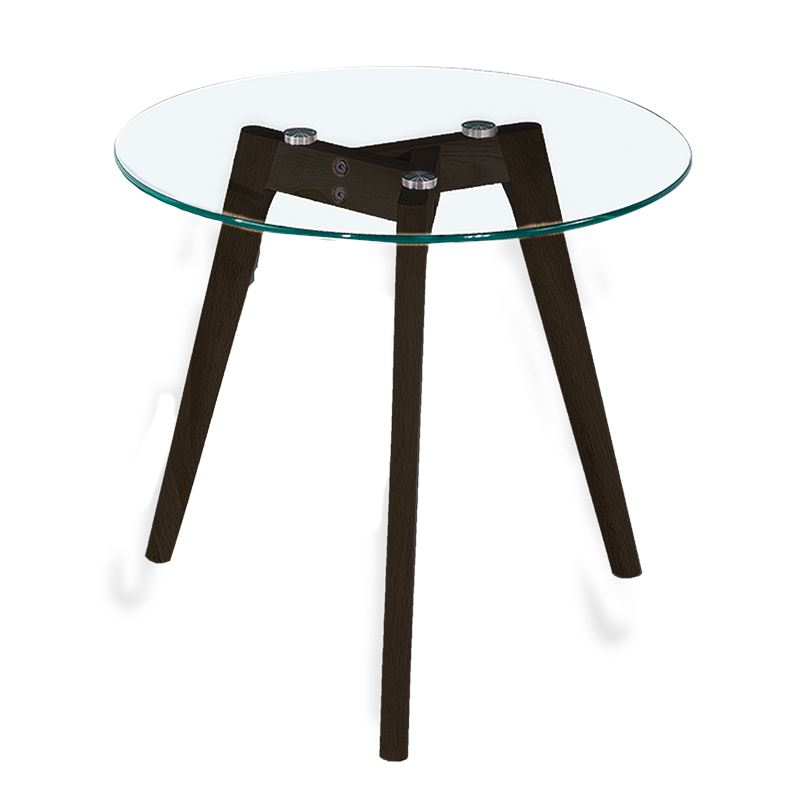Astrid Side Table Glass & Black Small