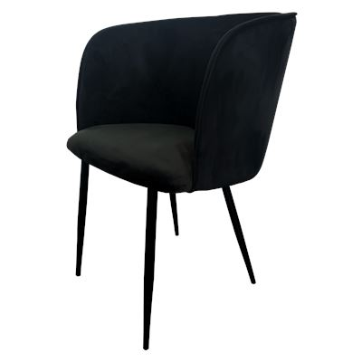 Camden Dining Chair Black Velvet