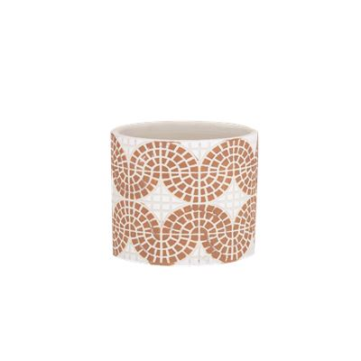 Mosaic Pot Small Orange & White