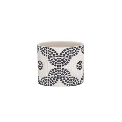 Mosaic Pot Small Black & White