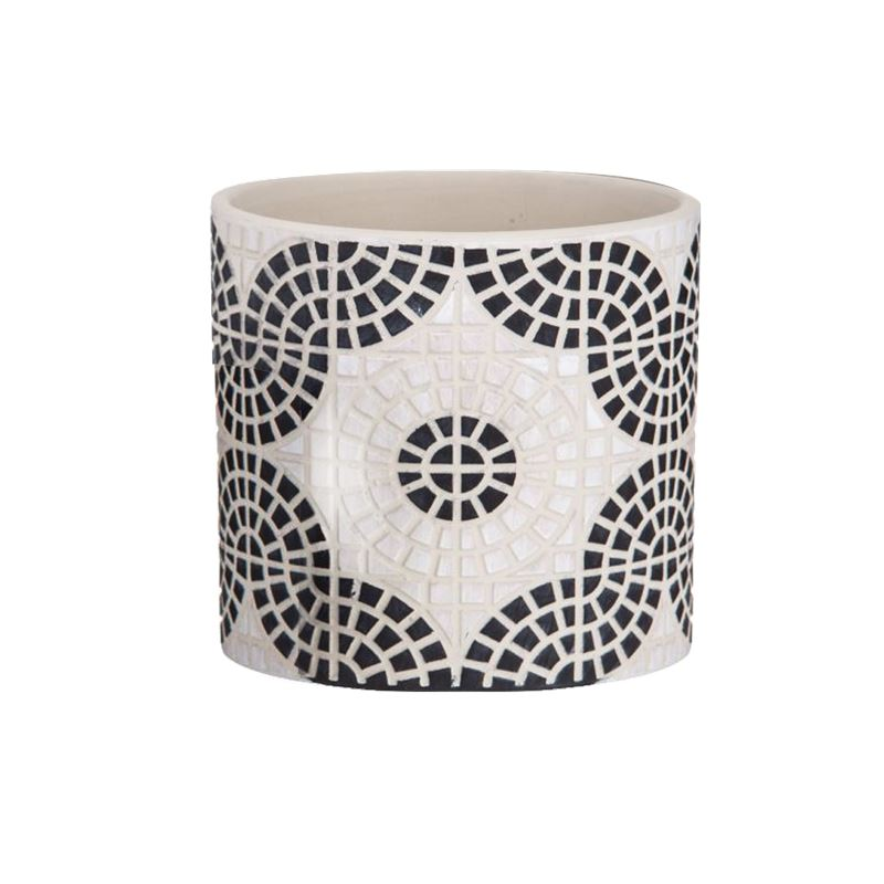 Mosaic Pot Large Black & White