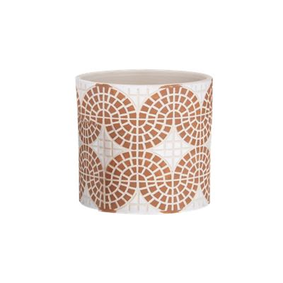 Mosaic Pot Large Orange & White