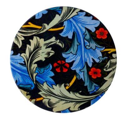 William Morris Ceramic Coaster 10cm Blue Acanthus