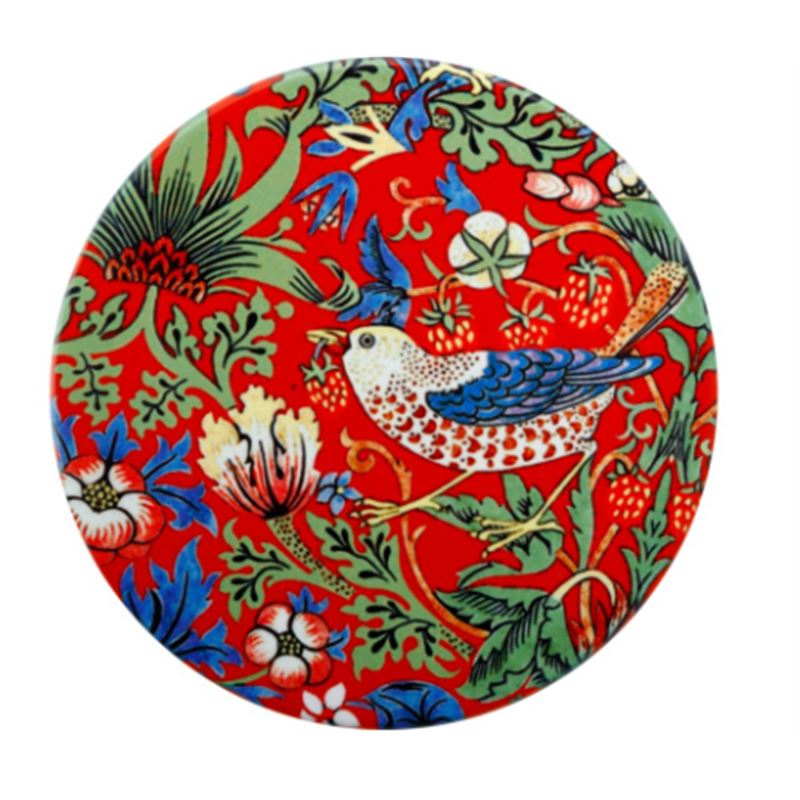 William Morris Ceramic Coaster 10cm Strawberry Thief Red
