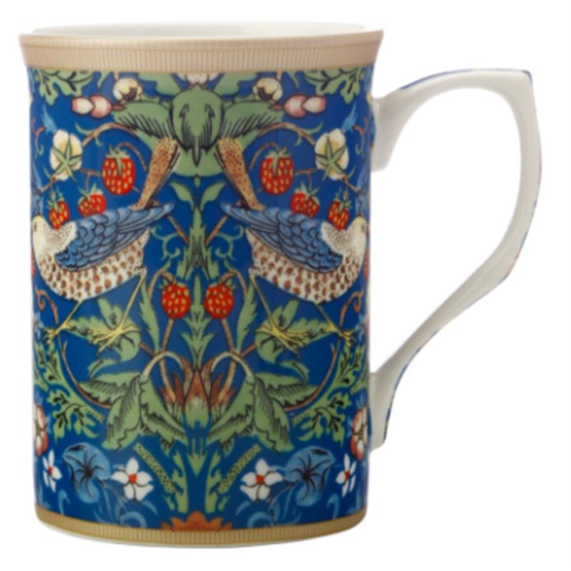 William Morris Mug 300ML Strawberry Thief Blue Gift Boxed