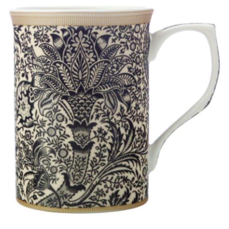 William Morris Mug 300ML Black Seaweed Gift Boxed