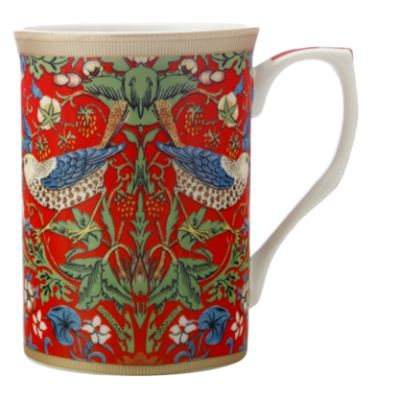William Morris Mug 300ML Strawberry Thief Red Gift Boxed
