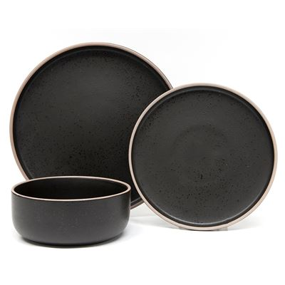 Hana Dinner Set Black 12Pc