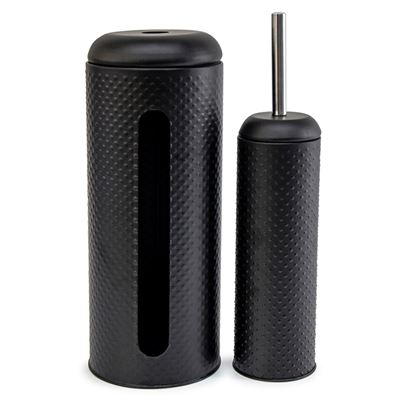 Spot Toilet Brush & Rollholder Black S/2