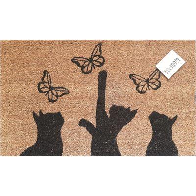 PVC Back Cat Butterfly Doormat 45x75cm