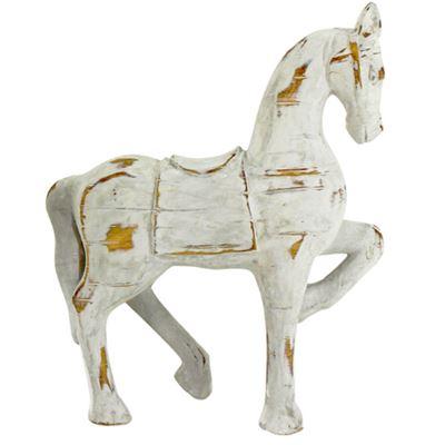 Distressed Horse White 22x27cm