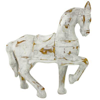 Distressed Horse Wh 31x36cm