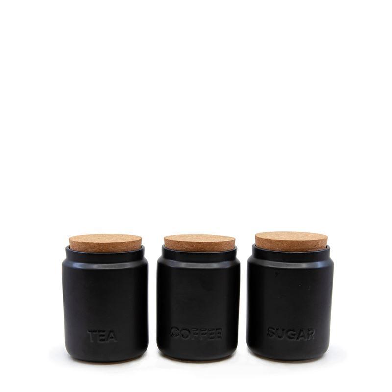 Strand Canister Black 10X13cm S/3