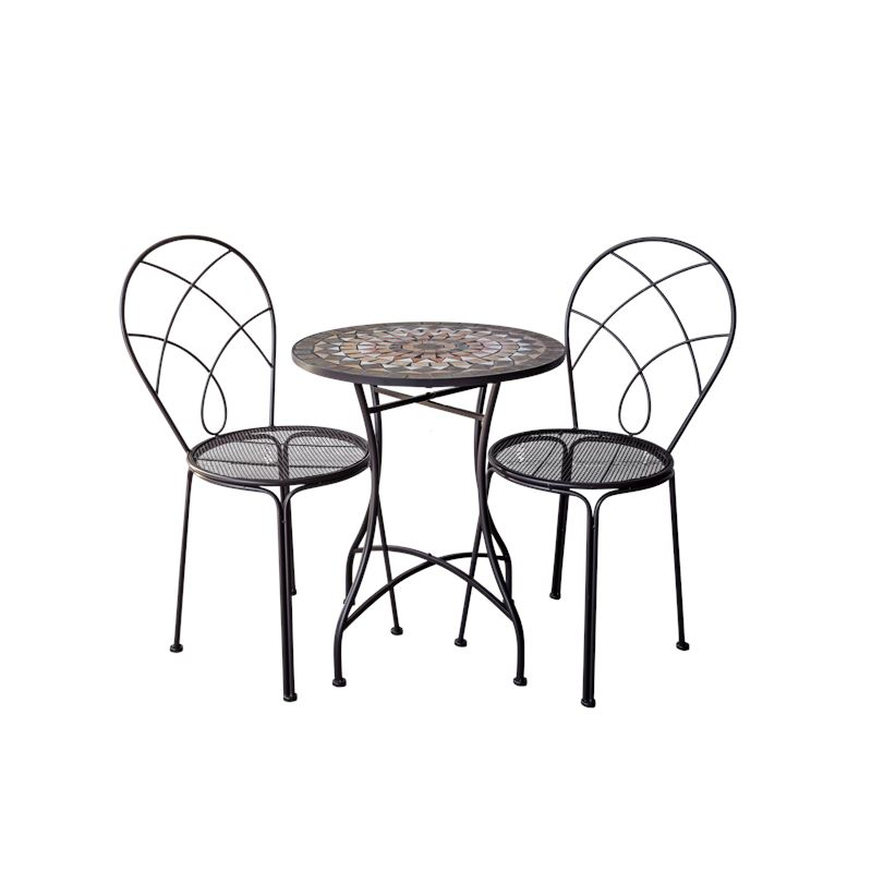 Grey & Natural Mosaic Bistro Table & Chairs