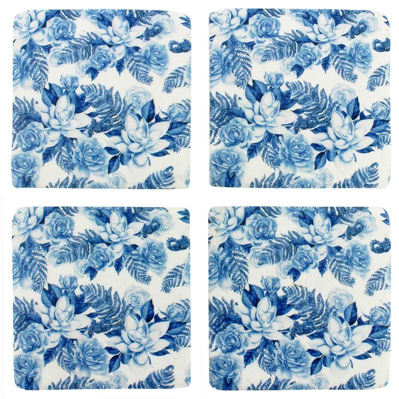S/4 Blue Floral Resin Coaster