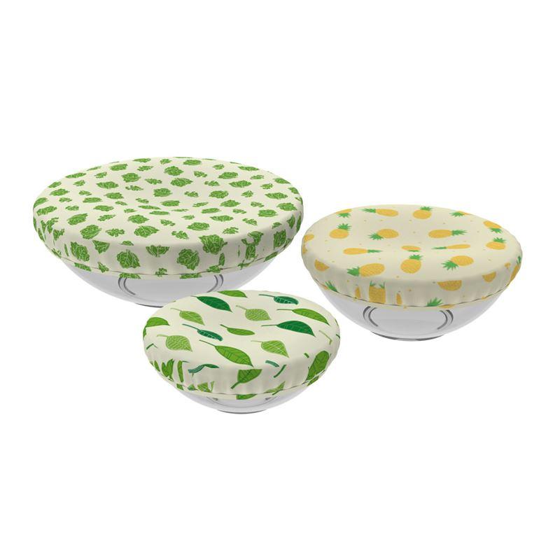 Reusable Reversible Fabric Bowl Cover Set 3pce Lettuce/Vines/Leaf