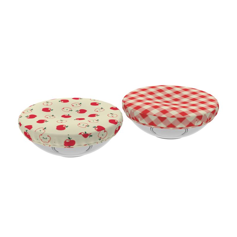 Reusable Reversible Fabric Bowl Cover Red Gingham/Apples
