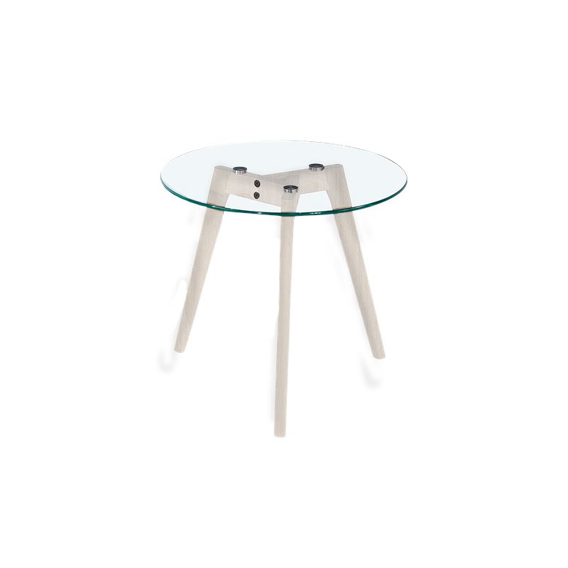 Astrid Side Table Glass & White Small