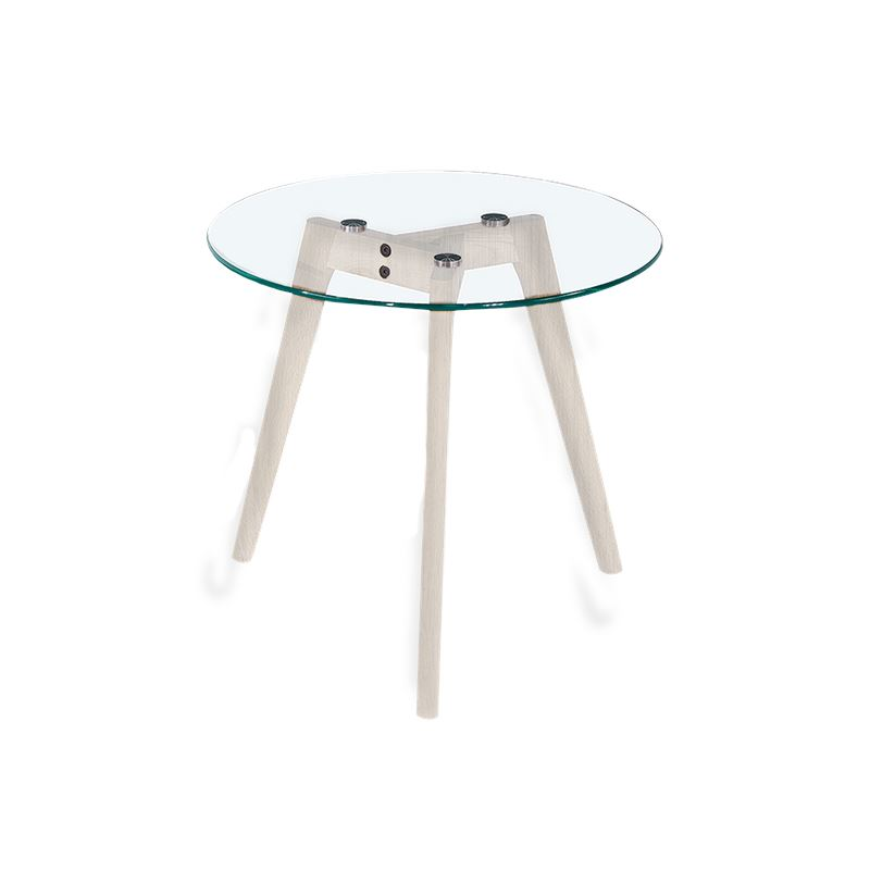 Astrid Side Table Glass & White Large